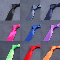 Classic Men Solid Satin 8cm Wide Ties Wedding Party Business Necktie QNTIE0004