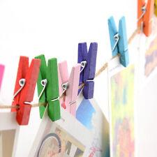 50PCS Mini Craft Clavijas De Madera Multicolor Paño Foto Colgante Clips Nuevo