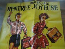 AFFICHE ORIGINAL 1950 RENTREE JOYEUSES ECOLIERS 112X157 HENNIN ECOLE