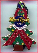 Hard Rock Cafe MANCHESTER 2000 WORLD AIDS AWARENESS PIN Ribbon & XMAS Tree #5293