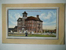 Central School Kenora Ontario Canada Old Postcard Woods Drug Store Kenora