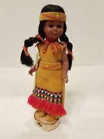 Vintage Native American Indian Plastic Doll Sleepy Eyes Leather Dress tomahawk