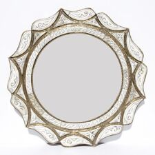 marocain orientale miroir fait à la main blanc chameau OS Mahal h50cm