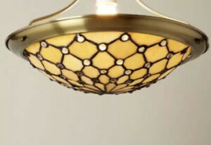 BHS Vintage Tiffany Style Ceiling Lights x2 Hanging Lampshade Glass Uplighter