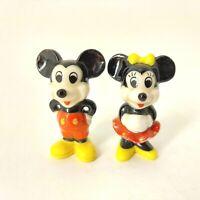 "Vintage MICKEY & MINNIE MOUSE DISNEY Bone China Porcelain 2"" Mini Figurines Set"