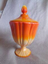 Pedestal Candy Dish Mid Century Modern Orange/Yellow Swirl Art Glass Vintage