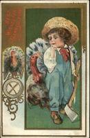Thanksgiving - Little Farmer Boy w/ Axe & Turkeys c1910 Postcard