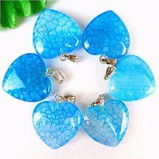 6Pcs Nice Water Blue Dragon Veins Agate Peach Heart Pendant Bead 23*20*7mm HH156
