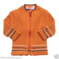 Clayeux baby Boys  Sz 6m 00-0 funky retro orange wool blend knit cardigan NWT