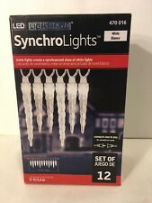 GEMMY Lightshow SynchroLights 12 Light LED White Icicle Light Set Christmas