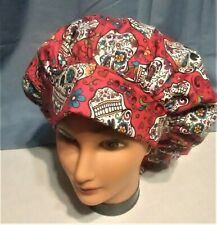 RED SUGAR SKULLS Surgical Scrub Hat Cap Bouffant Women Ladies Medical Vet OR