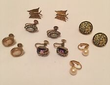 Lot Of 6 Vintage Costume Jewelry Earrings CLIP On Clipon Screw On Mix