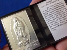 Our Lady of GUADALUPE Silver Metal Saint Plaque Folder Pocket Catholic Icon
