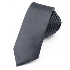 CRAVATE Slim 5 cm Satin Gris foncé - Dark grey Plain Men Necktie - Cravatte