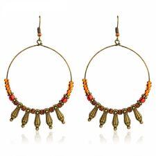 UK BOHO ROUND WOODEN BEAD TASSEL HOOP EARRINGS Ethnic Tribal Festival Jewellery