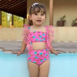 Toddler Kids Baby Girls Vest Lace Ice Cream Print Detachable Swimsuit Beachwear