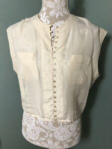 Vintage Benetton 100% SILK Crop Top SZ MED Button up Ivory Off White EUC