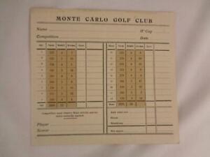 Rare Antique Monte Carlo Golf Club Unused Score Card