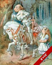 ALICE IN WONDERLAND & THE WHITE KNIGHT LEWIS CARROL CANVAS PAINTING ART PRINT