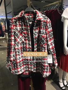 BNWT ZARA $99 Tweed Safari Jacket Size S M L 7901/038 Red Ecru