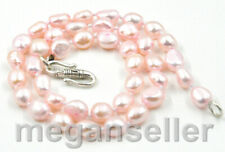 """8-9mm Light Pink Baroque Freshwater Cultured Pearl Necklace 17"""" Tibet Clasp"""