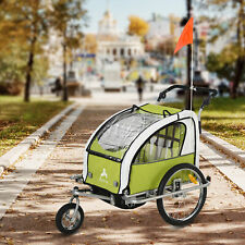 Aosom Elite Ii Double Baby Bike Trailer Stroller Child Bicycle Jogger, Green
