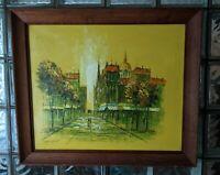 Vintage Original DUMONT Impressionist Oil Painting Midcentury Rainy Paris Street