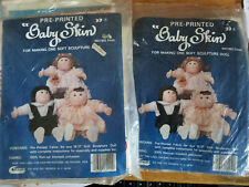 Lot (2) Vintage Raymar Pre-Printed Baby Skin Soft Sculpture Baby Doll Body Nip