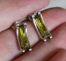 Silver & Citrine Earrings Lovely Stylish Modernist Sterling