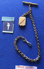 VICTORIAN ROLLED GOLD WATCH CHAIN WITH LOCKET, T-BAR PENCIL & FOB CATCH
