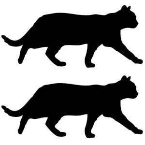 Qty 2 Cat Silhouette Wall Sticker Decal Pack B Any Colour