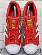 Adidas Originales Rojo Superstar Tejido Zapatillas Size UK 8