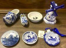 7 Vintage Delft Blue Porcelain Windmill Collectibles Ornament Plates Shoes Dish