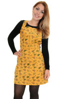 Run And Fly Dinosaur Yellow Mustard Retro Cord Pinafore Dress New Tags 8-18