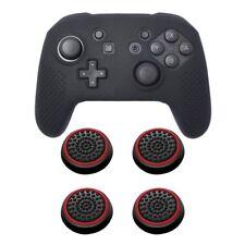 For Nintendo Switch Pro Black Soft Controller Grip Case + 4pcs Cap Black/Red