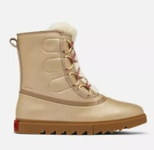 New JOAN OF ARCTIC NEXT LITE LUX BOOT 10 Fungi Gold Leather Fur