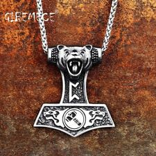 Pendant Necklace The Norse Wolf Stainless Nordic Vikings Bear Print Amulet