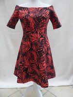 Zara black/orange leaf off shoulder fit & flare skater dress Label M Size 10