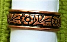 Hand Crafted Copper Ring~Band of Flowers~SHARE the LOVE~Copper Healing Effects