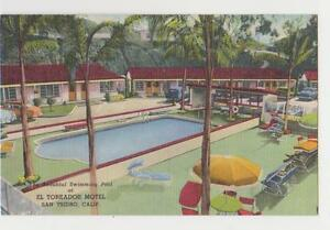 San Ysidro,CA.El Toreador Motel,Swimming Pool,San Diego County,Linen,c.1940s