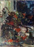 """Russischer Realist Expressionist Öl Leinwand """"Blumen am Fenster"""" 80 x 60 cm"""