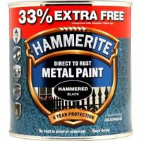 NEW HAMMERITE DIRECT TO RUST METAL PAINT HAMMERED BLACK 750ML +33% EF 5158237