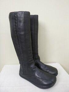 EARTH NEGATIVE HEEL MARVELOUS 8.5 B Black Braided Leather Knee Zip Boots Flats