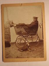 Spandau um 1900 Student oder Schüler mit Mütze im Kinderwagen & Hund KAB
