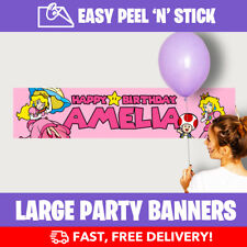 Princess Peach Personalised Birthday Party Banner (110cm x 25cm) - Low Price!