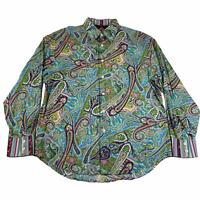 Robert Graham Button Down Shirt Mens XL Floral Paisley Blue Green Flip Cuffs