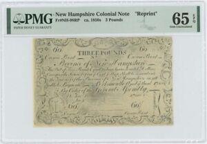 1755/6 New Hampshire 3 Pounds NH-98 PMG GEM 65 EPQ c. 1850 Cohen Reprint