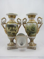 "ROYAL STONE CHINA PAIR OF PORCELAIN VASES 9"" ENGLISH GAME BIRDS IN COUNTY SCENE"