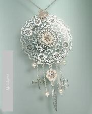 PILGRIM Disc Necklace BOHEMIAN Flower Charm Swarovski Enamel Silver/Pink BNWT