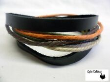 COOL ORANGE & BLACK ROPE & LEATHER POPPER/ CUFF SURFER PUNK BRACELET *NEW*